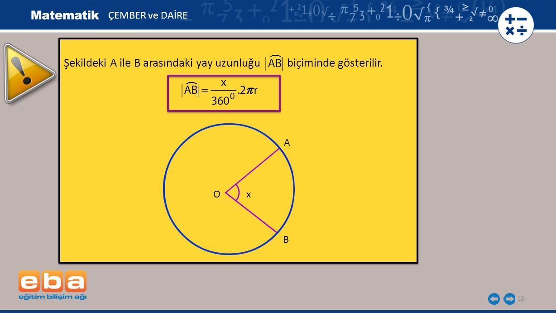 Şekildeki A ile B arasındaki yay uzunluğu biçiminde gösterilir. (