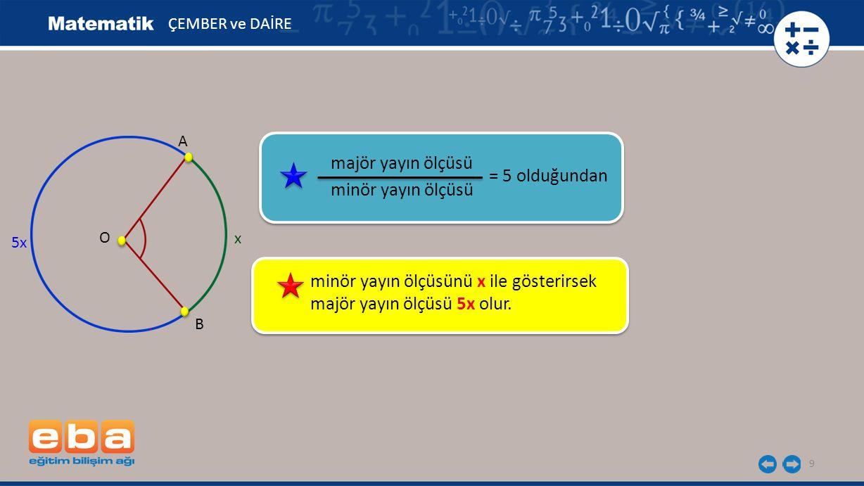 minör yayın ölçüsünü x ile gösterirsek majör yayın ölçüsü 5x olur.