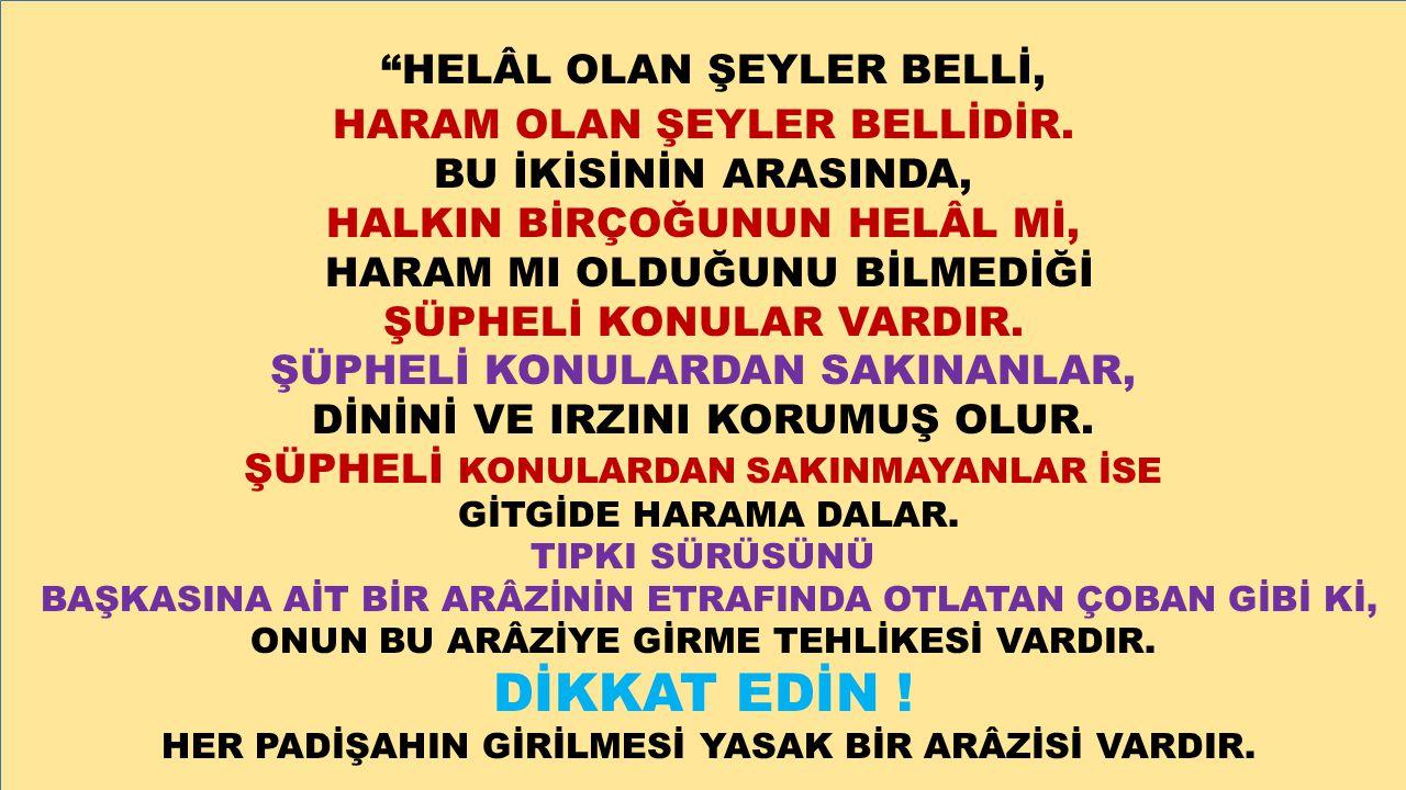 HELÂL OLAN ŞEYLER BELLİ,