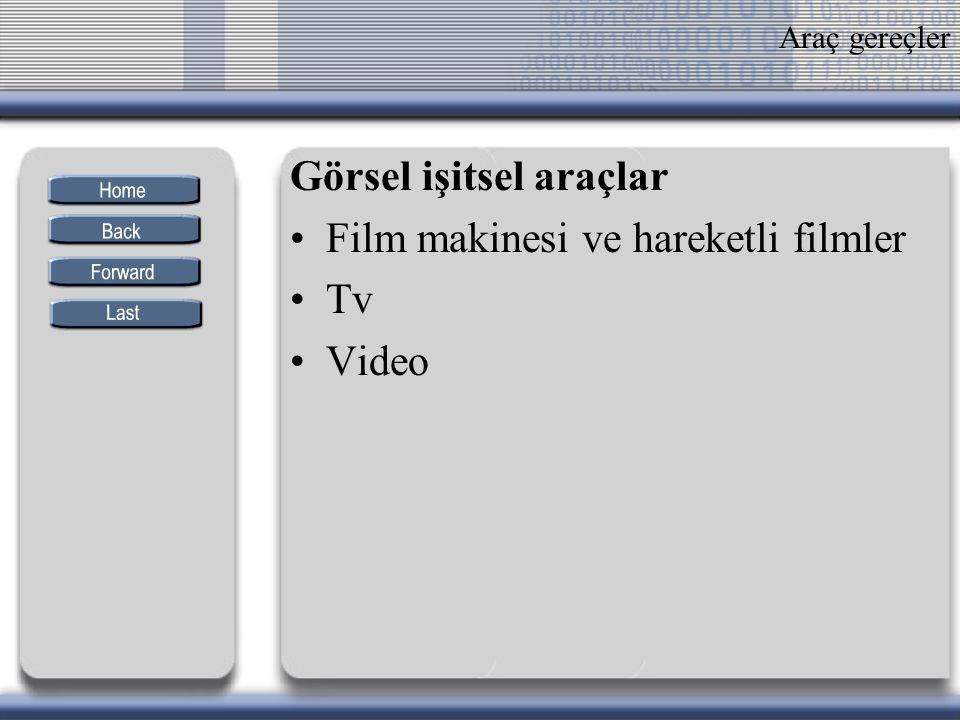 Görsel işitsel araçlar Film makinesi ve hareketli filmler Tv Video