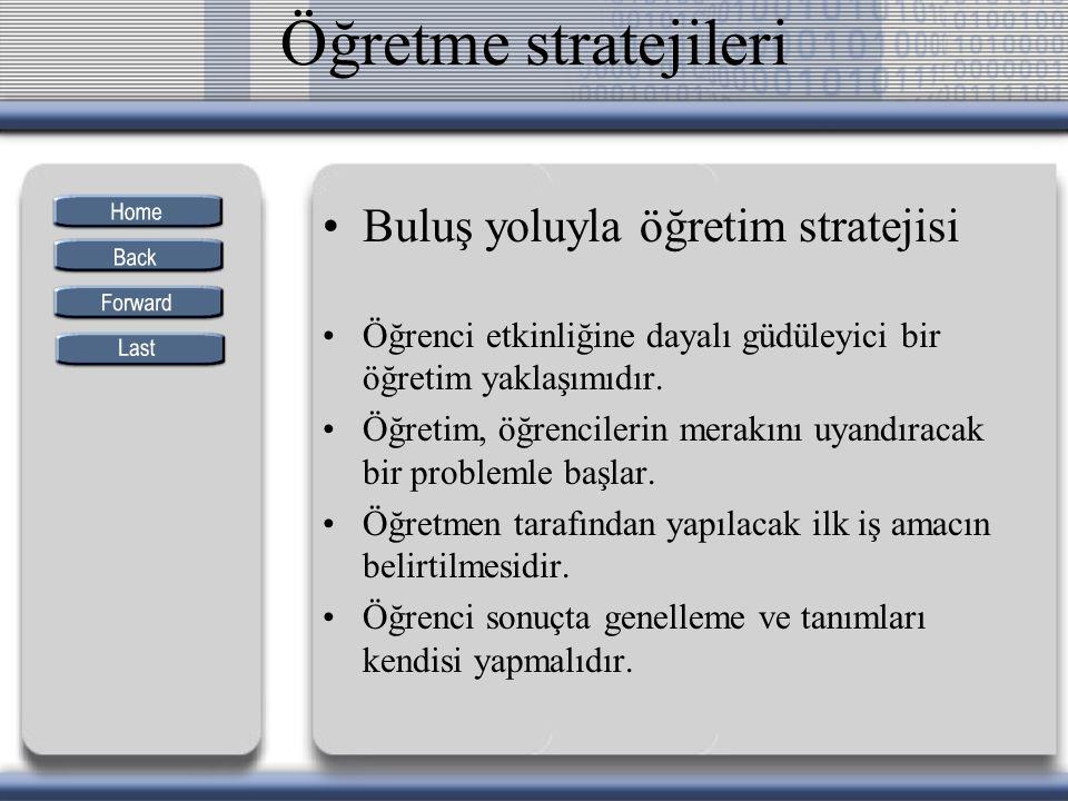 Öğretme stratejileri Buluş yoluyla öğretim stratejisi