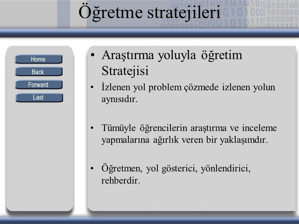 Öğretme stratejileri Araştırma yoluyla öğretim Stratejisi