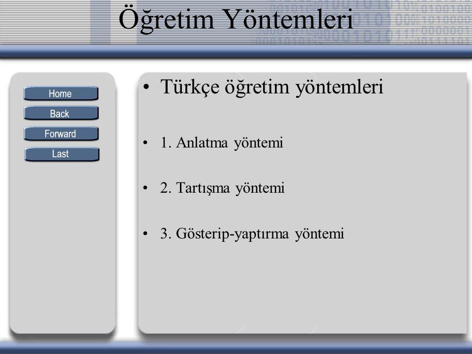 Öğretim Yöntemleri Türkçe öğretim yöntemleri 1. Anlatma yöntemi