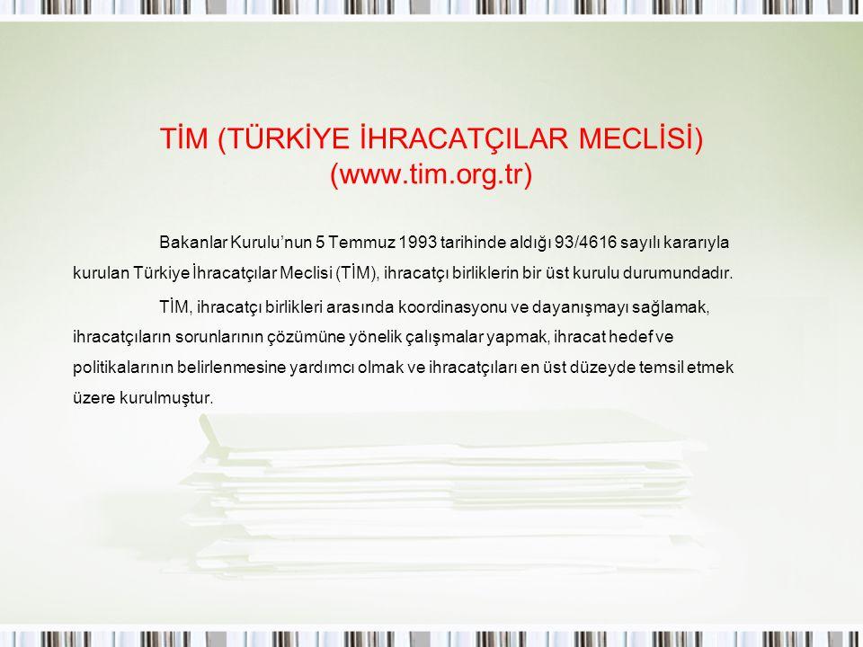 TİM (TÜRKİYE İHRACATÇILAR MECLİSİ) (www.tim.org.tr)