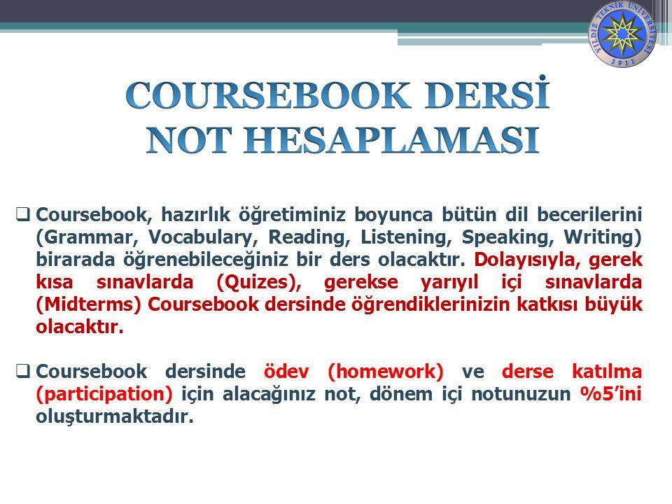 COURSEBOOK DERSİ NOT HESAPLAMASI