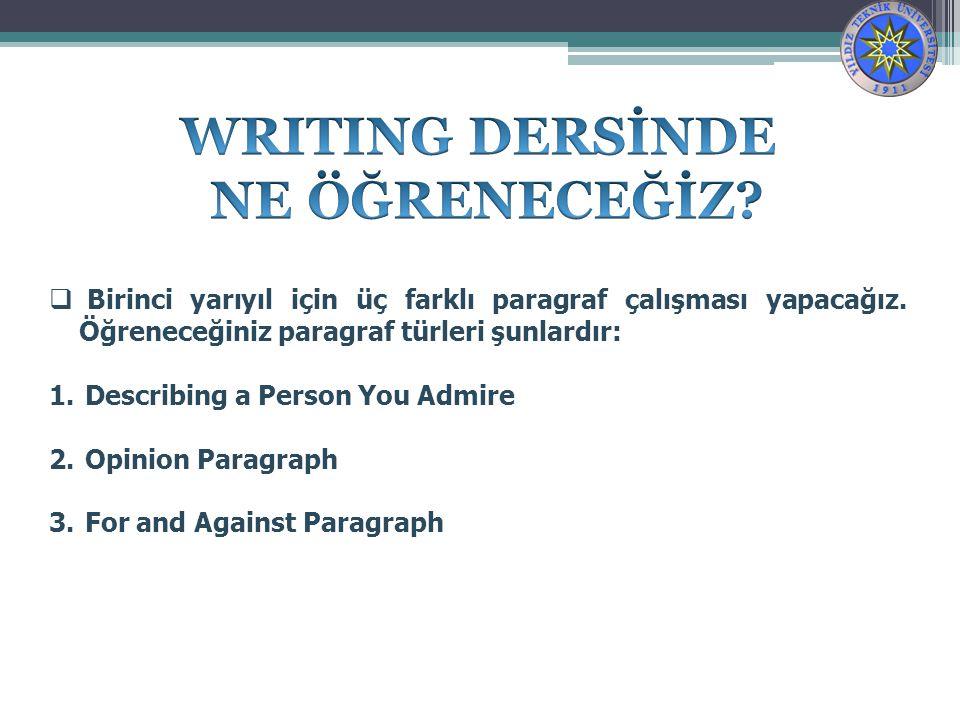 WRITING DERSİNDE NE ÖĞRENECEĞİZ