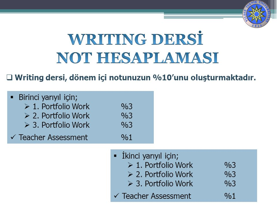 WRITING DERSİ NOT HESAPLAMASI