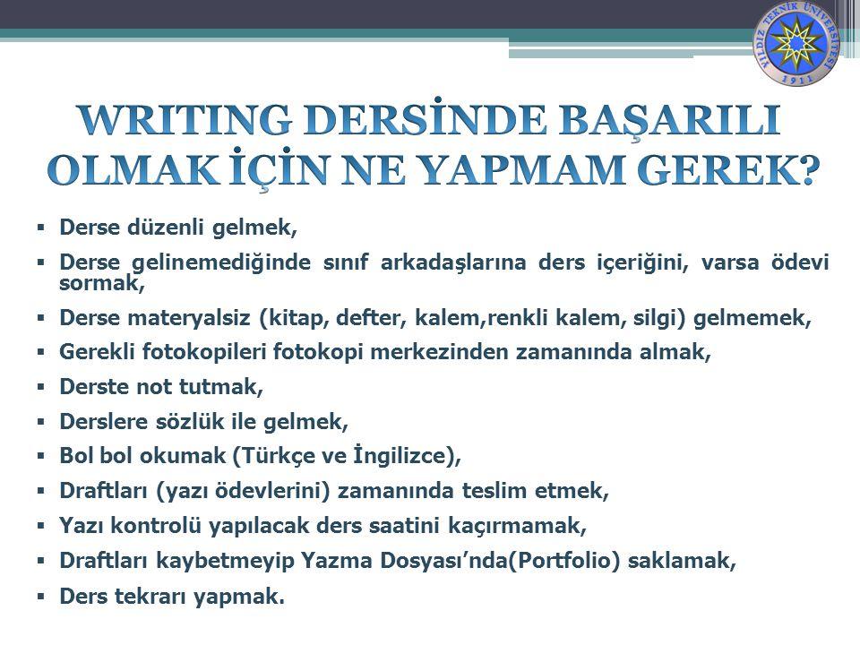 WRITING DERSİNDE BAŞARILI OLMAK İÇİN NE YAPMAM GEREK