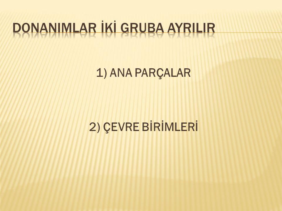 DONANIMLAR İKİ GRUBA AYRILIR