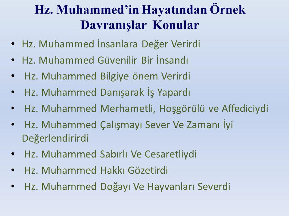 Hz. Muhammed'in Hayatından Örnek Davranışlar Konular