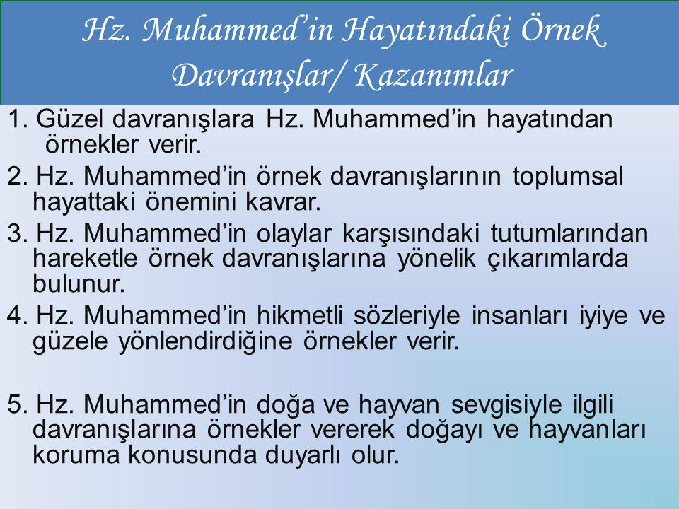 Hz. Muhammed'in Hayatındaki Örnek Davranışlar/ Kazanımlar
