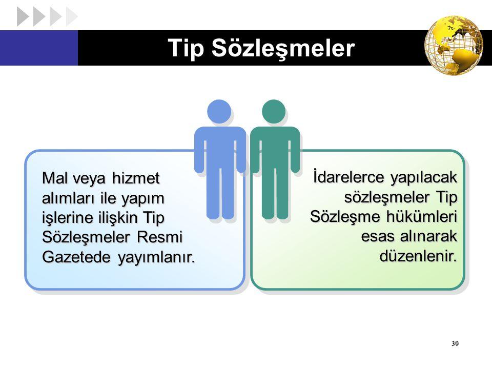 Tip Sözleşmeler Mal veya hizmet alımları ile yapım işlerine ilişkin Tip Sözleşmeler Resmi Gazetede yayımlanır.