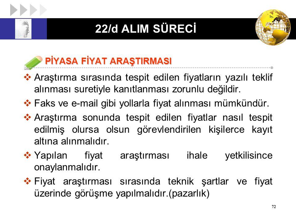 22/d ALIM SÜRECİ PİYASA FİYAT ARAŞTIRMASI