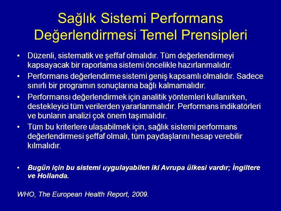 Sağlık Sistemi Performans Değerlendirmesi Temel Prensipleri