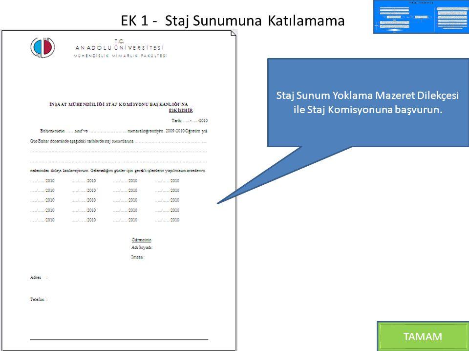 EK 1 - Staj Sunumuna Katılamama