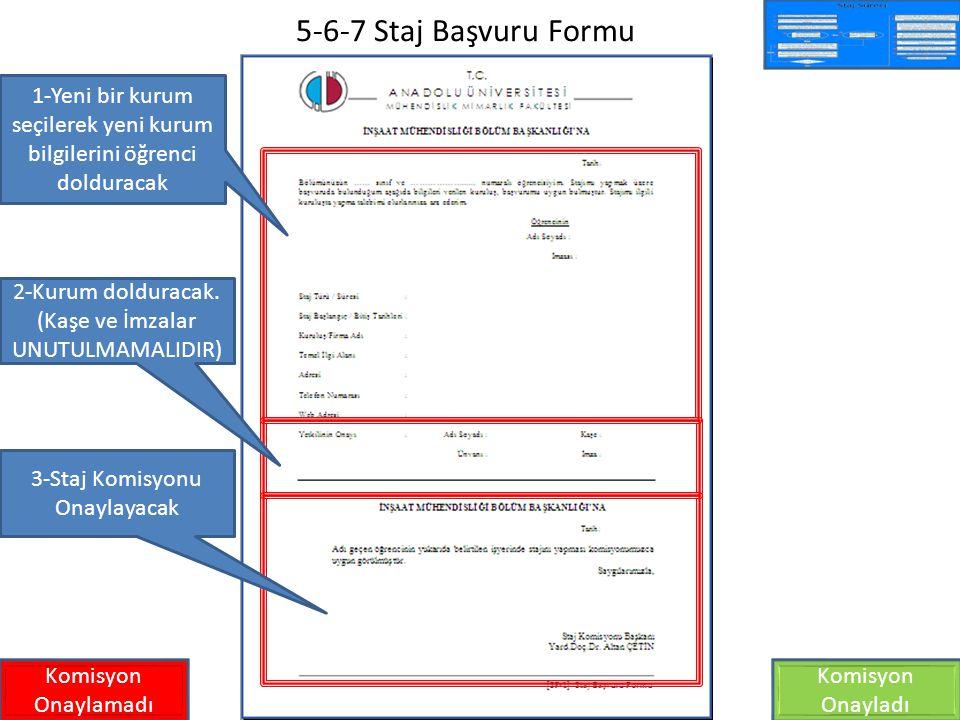 5-6-7 Staj Başvuru Formu 1-Yeni bir kurum seçilerek yeni kurum bilgilerini öğrenci dolduracak. 2-Kurum dolduracak. (Kaşe ve İmzalar UNUTULMAMALIDIR)
