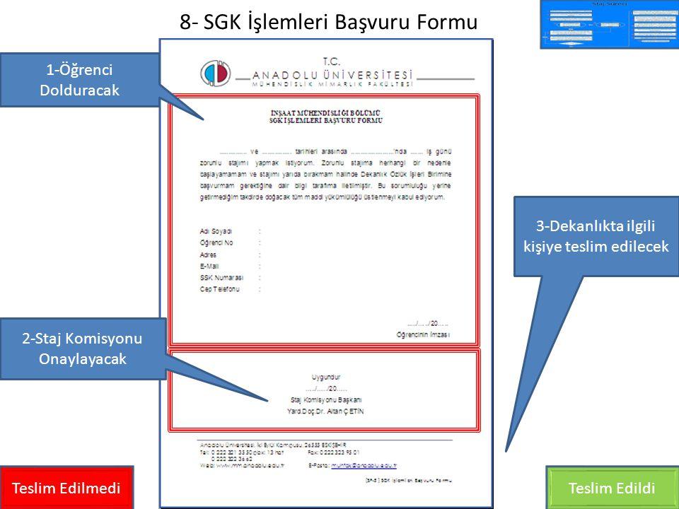 8- SGK İşlemleri Başvuru Formu