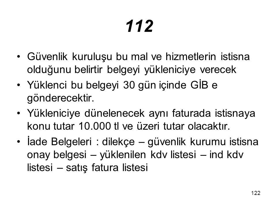 112 Güvenlik kuruluşu bu mal ve hizmetlerin istisna olduğunu belirtir belgeyi yükleniciye verecek.