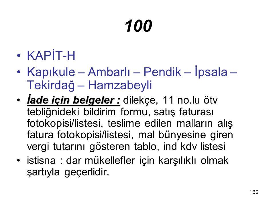 100 KAPİT-H. Kapıkule – Ambarlı – Pendik – İpsala – Tekirdağ – Hamzabeyli.