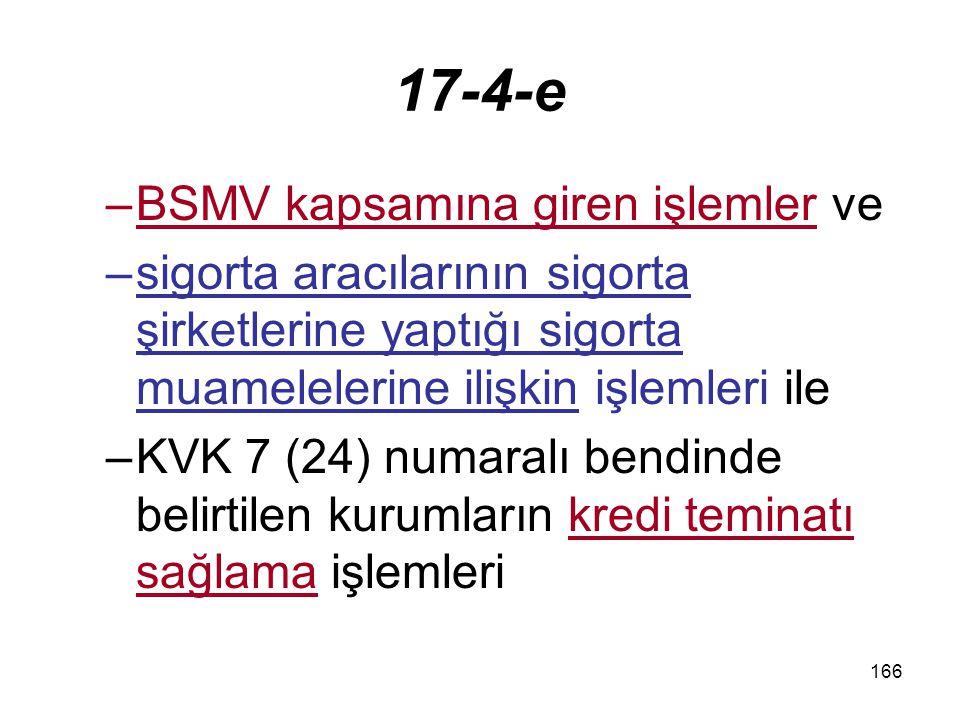 17-4-e BSMV kapsamına giren işlemler ve