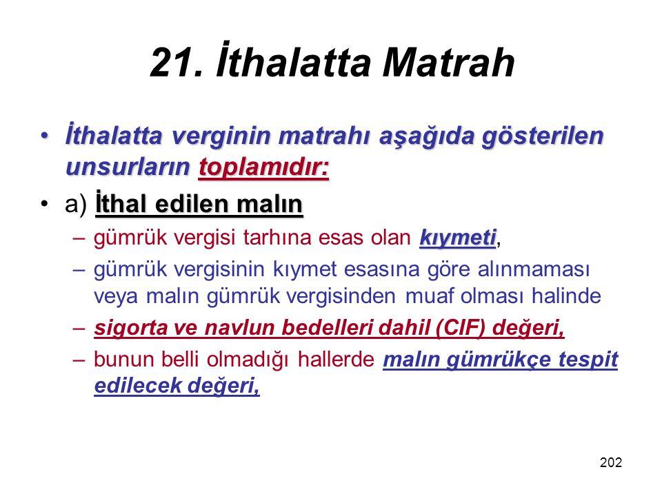 21. İthalatta Matrah İthalatta verginin matrahı aşağıda gösterilen unsurların toplamıdır: a) İthal edilen malın.