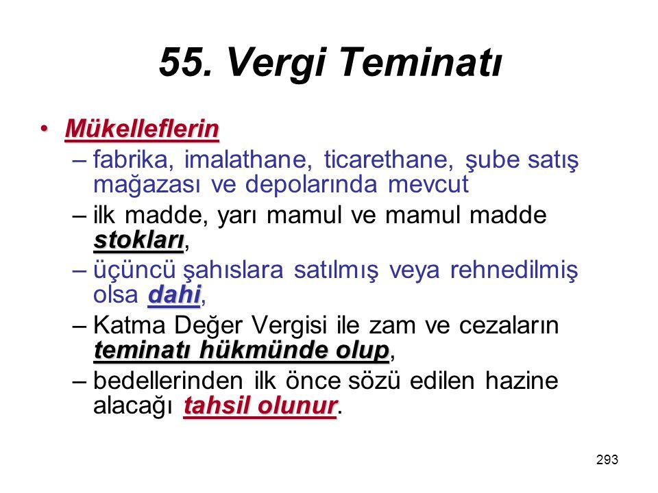 55. Vergi Teminatı Mükelleflerin