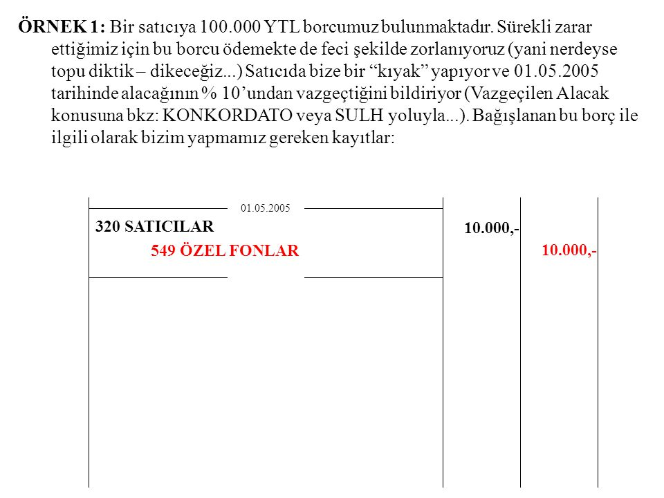 ÖRNEK 1: Bir satıcıya 100. 000 YTL borcumuz bulunmaktadır