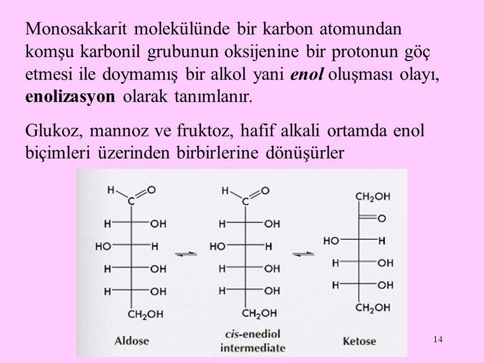 Monosakkarit molekülünde bir karbon atomundan komşu karbonil grubunun oksijenine bir protonun göç etmesi ile doymamış bir alkol yani enol oluşması olayı, enolizasyon olarak tanımlanır.