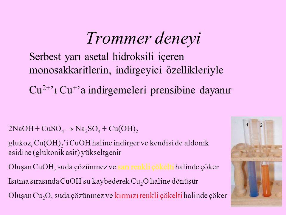Trommer deneyi Serbest yarı asetal hidroksili içeren monosakkaritlerin, indirgeyici özellikleriyle.