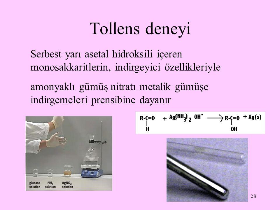 Tollens deneyi Serbest yarı asetal hidroksili içeren monosakkaritlerin, indirgeyici özellikleriyle.