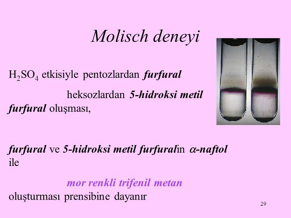 Molisch deneyi H2SO4 etkisiyle pentozlardan furfural