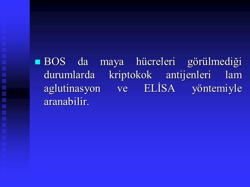 BOS da maya hücreleri görülmediği durumlarda kriptokok antijenleri lam aglutinasyon ve ELİSA yöntemiyle aranabilir.