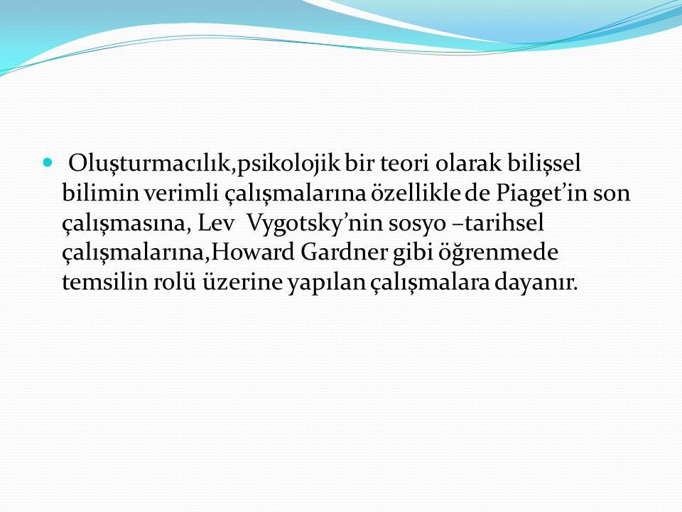 Oluşturmacılık,psikolojik bir teori olarak bilişsel bilimin verimli çalışmalarına özellikle de Piaget'in son çalışmasına, Lev Vygotsky'nin sosyo –tarihsel çalışmalarına,Howard Gardner gibi öğrenmede temsilin rolü üzerine yapılan çalışmalara dayanır.