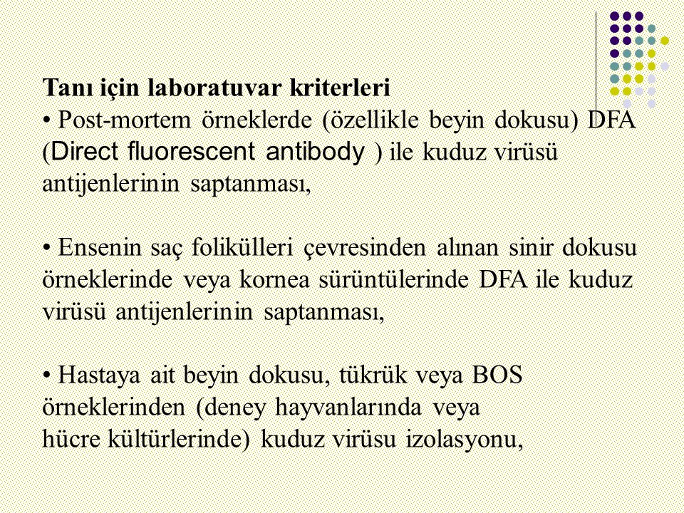 Tanı için laboratuvar kriterleri