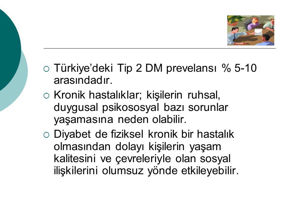 Türkiye'deki Tip 2 DM prevelansı % 5-10 arasındadır.
