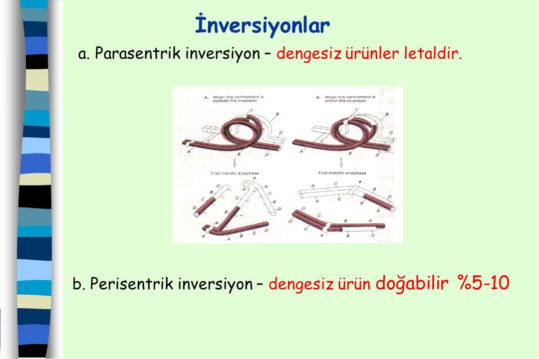 İnversiyonlar a. Parasentrik inversiyon – dengesiz ürünler letaldir.