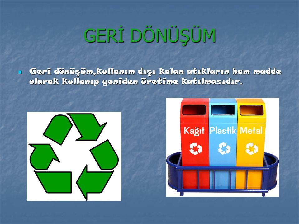 GERİ DÖNÜŞÜM Geri dönüşüm,kullanım dışı kalan atıkların ham madde olarak kullanıp yeniden üretime katılmasıdır.