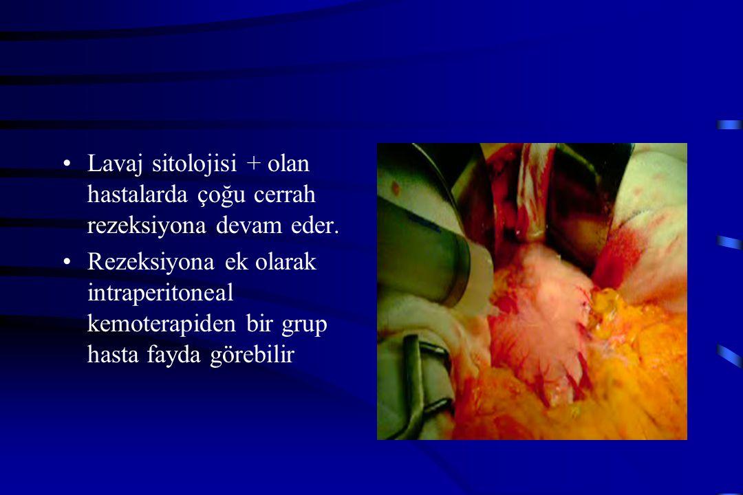 Lavaj sitolojisi + olan hastalarda çoğu cerrah rezeksiyona devam eder.