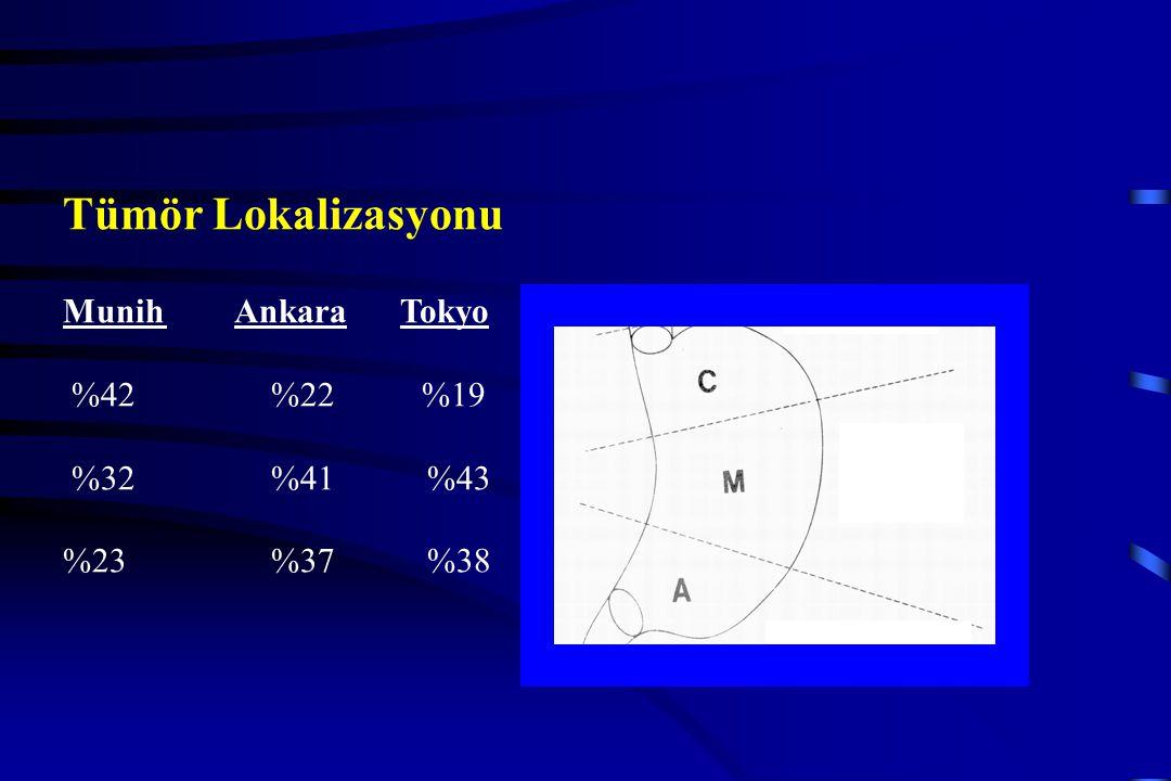 Tümör Lokalizasyonu Munih Ankara Tokyo %42 %22 %19 %32 %41 %43