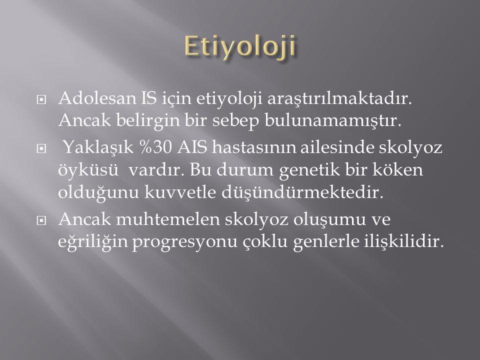 Etiyoloji Adolesan IS için etiyoloji araştırılmaktadır. Ancak belirgin bir sebep bulunamamıştır.