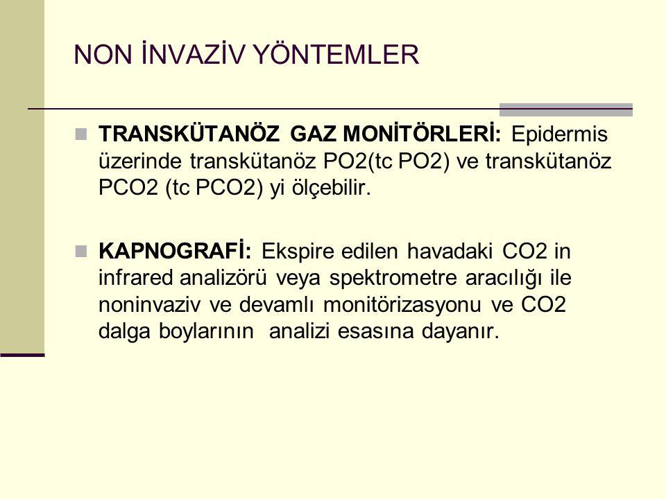 NON İNVAZİV YÖNTEMLER TRANSKÜTANÖZ GAZ MONİTÖRLERİ: Epidermis üzerinde transkütanöz PO2(tc PO2) ve transkütanöz PCO2 (tc PCO2) yi ölçebilir.