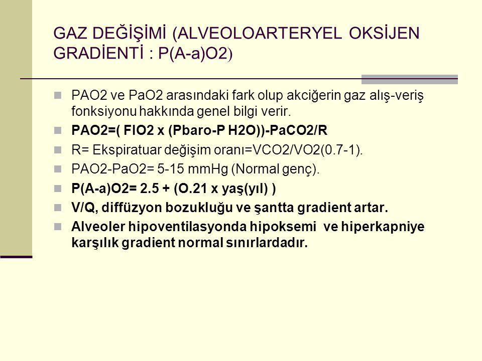 GAZ DEĞİŞİMİ (ALVEOLOARTERYEL OKSİJEN GRADİENTİ : P(A-a)O2)