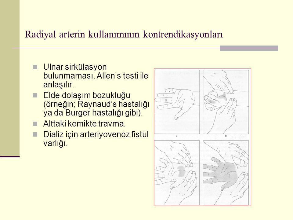 Radiyal arterin kullanımının kontrendikasyonları