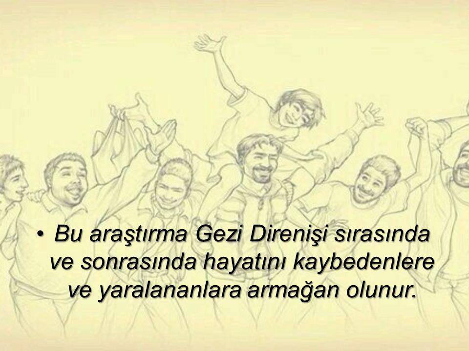 Bu araştırma Gezi Direnişi sırasında ve sonrasında hayatını kaybedenlere ve yaralananlara armağan olunur.