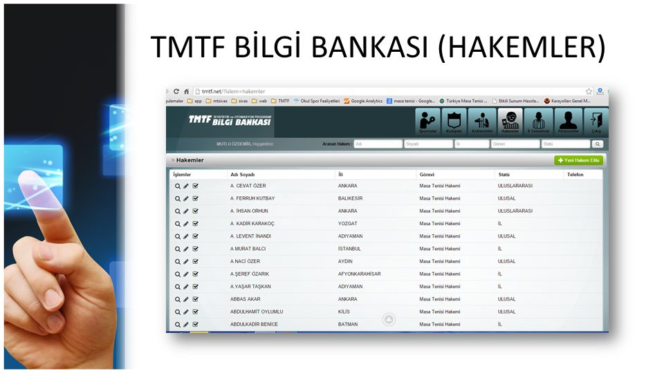 TMTF BİLGİ BANKASI (HAKEMLER)