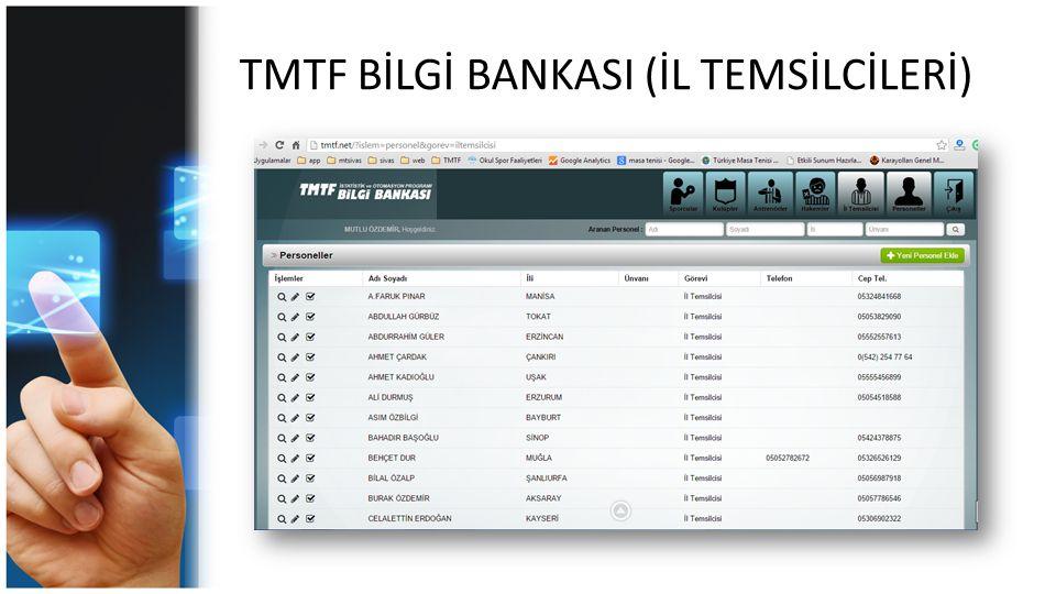 TMTF BİLGİ BANKASI (İL TEMSİLCİLERİ)
