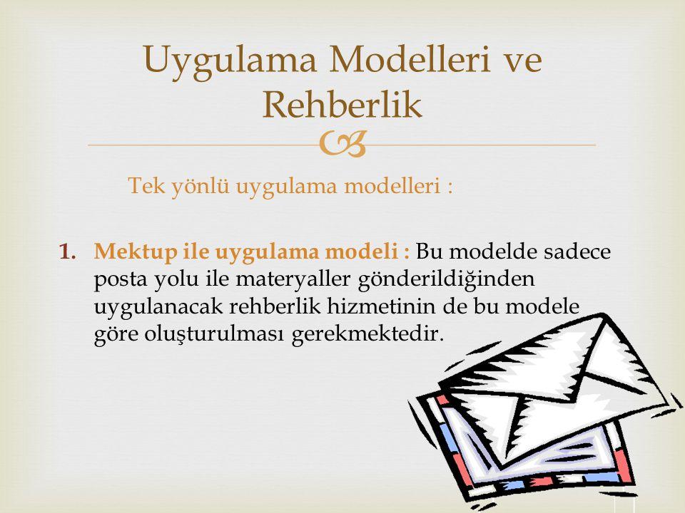 Uygulama Modelleri ve Rehberlik