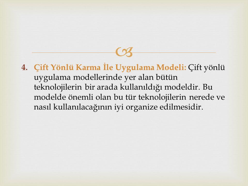 Çift Yönlü Karma İle Uygulama Modeli: Çift yönlü uygulama modellerinde yer alan bütün teknolojilerin bir arada kullanıldığı modeldir.