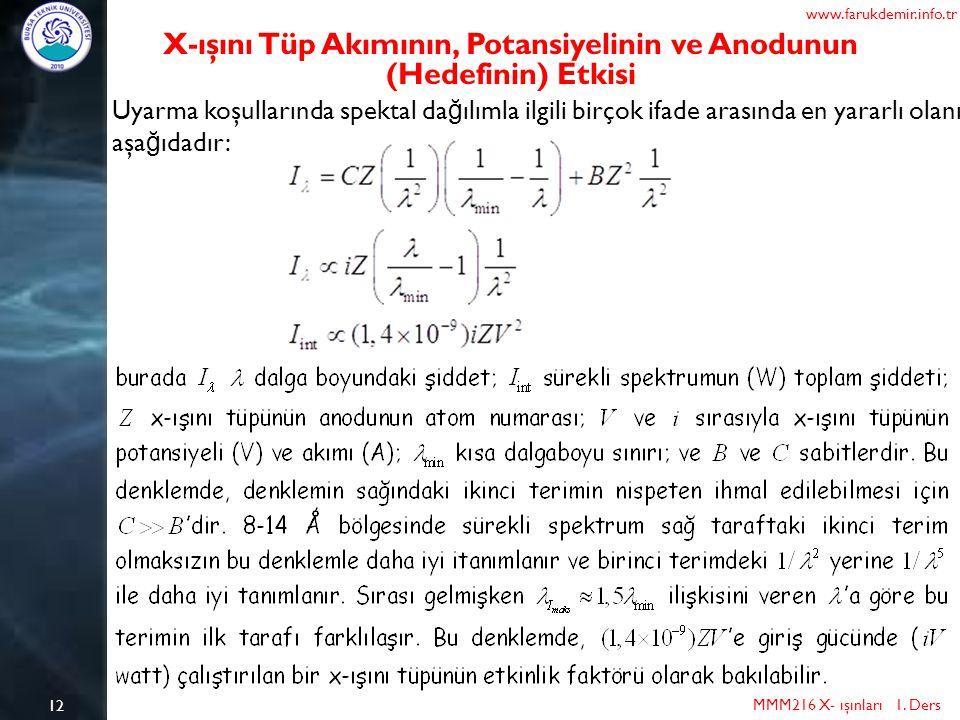 X-ışını Tüp Akımının, Potansiyelinin ve Anodunun (Hedefinin) Etkisi