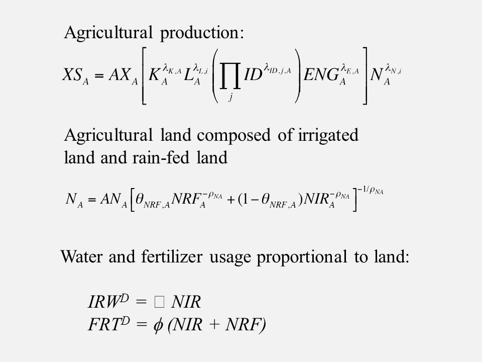 Agricultural production: